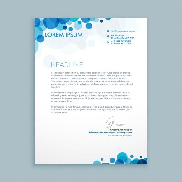 Business Letter With Blue Circles Free Vector  Ai Company
