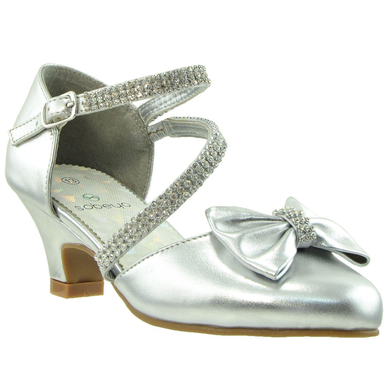 Kids Dress Shoes Rhinestone Bow Accent Kitten Heel Sandals Silver In 2020 Kids Dress Shoes Girls Dress Shoes Little Girl Heels