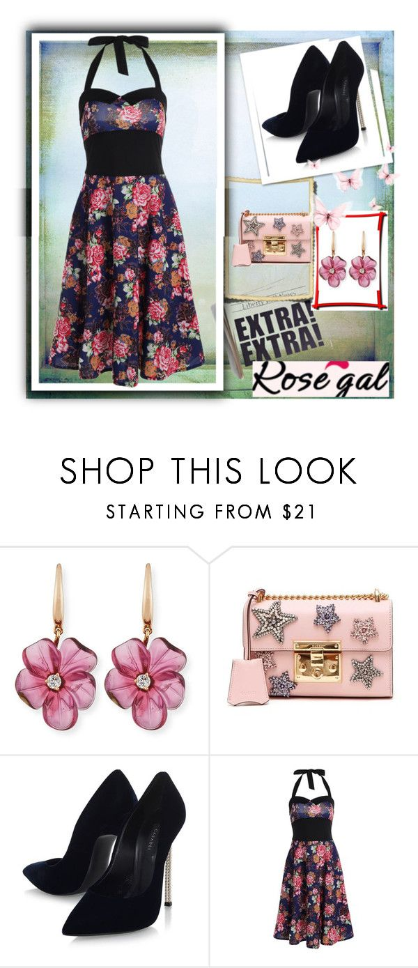 """""""Rosegal contest"""" by lejla150 ❤ liked on Polyvore featuring Rina Limor, Gucci and Casadei"""