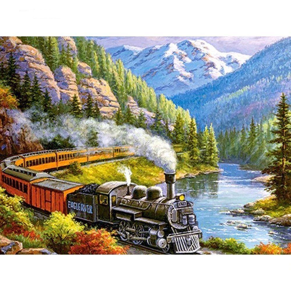 5D Cross Stitch DIY Diamond Embroidery Landscape Train Diamond Painting Pattern