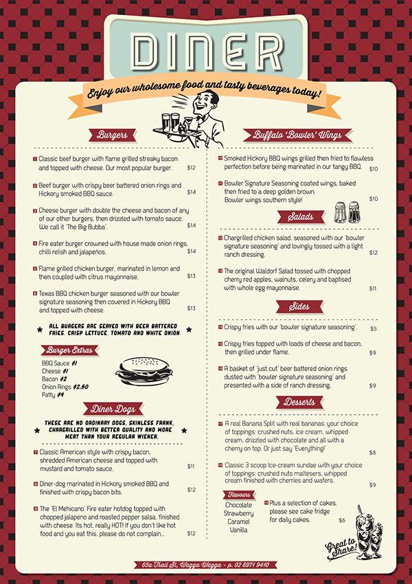 Wagga Bowl Diner Menu