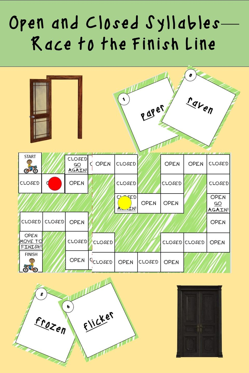 Open And Closed Syllable Board Game Closed Syllables Orton Gillingham Activities Orton Gillingham Open closed syllable worksheets