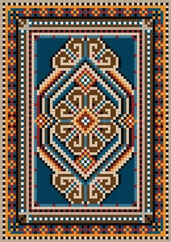 Vector Of The Ancient Oriental Design With A Frame For Carpet Rug Pattern Cross Stitch Cross Stitch Patterns