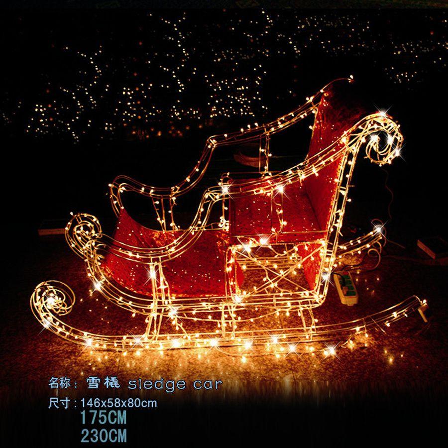 Christmas deer car christmas iron sled led lighting super bright ...