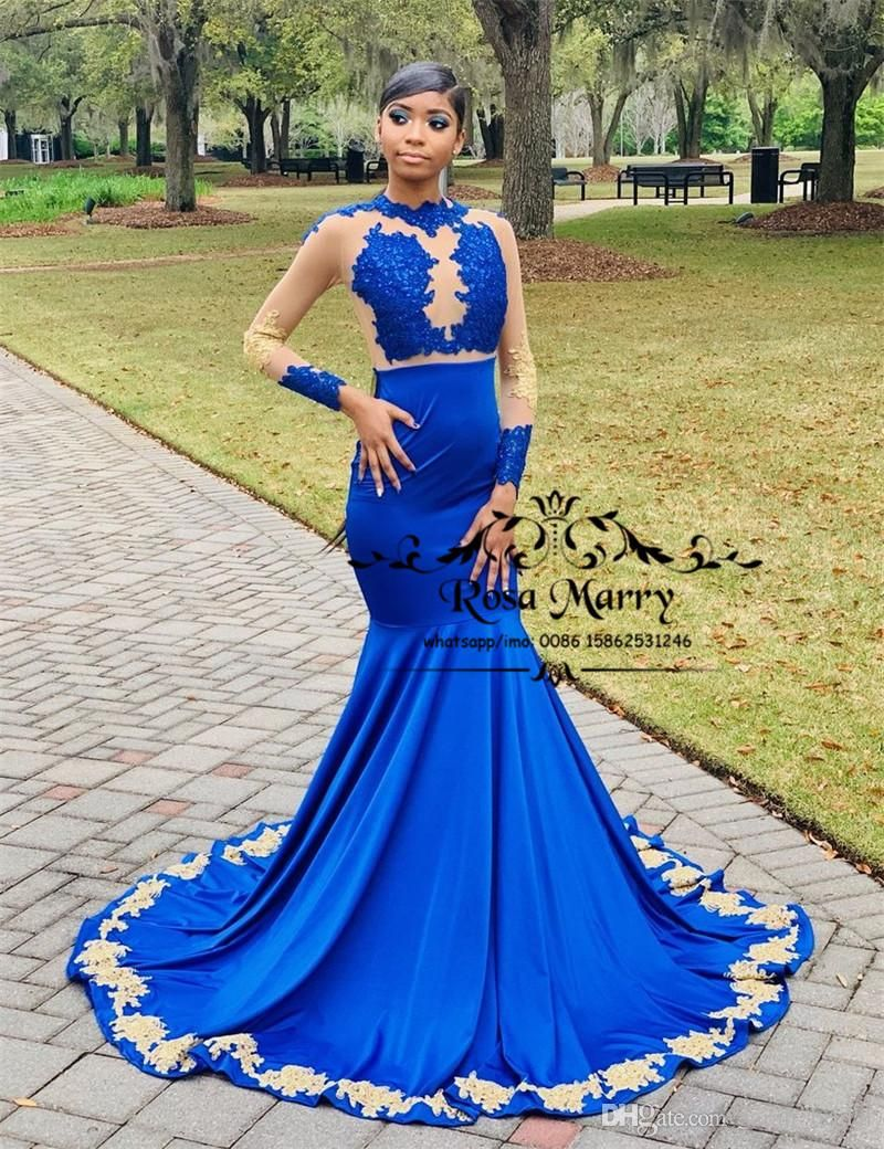 7f344960b6044 Sexy Royal Blue Mermaid Prom Dresses 2k19 Gold Lace Appliques Long ...
