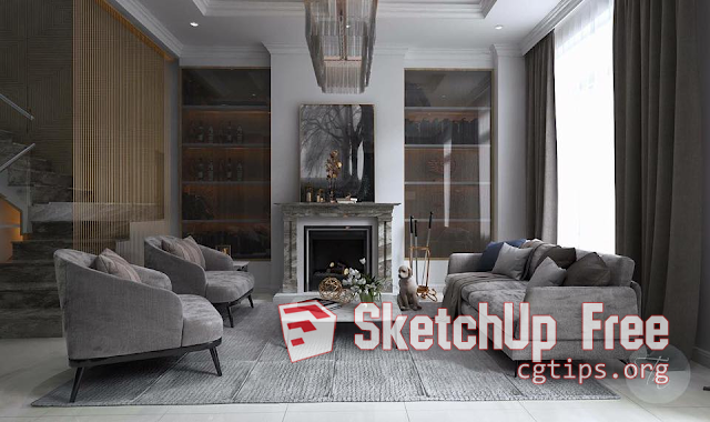 1122 Interior Livingroom Scene Sketchup Model Free Download