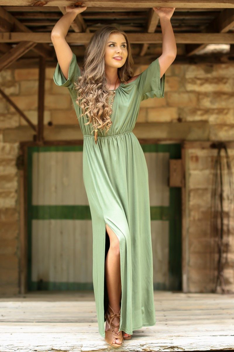 Perfect romance olive green maxi dress products pinterest