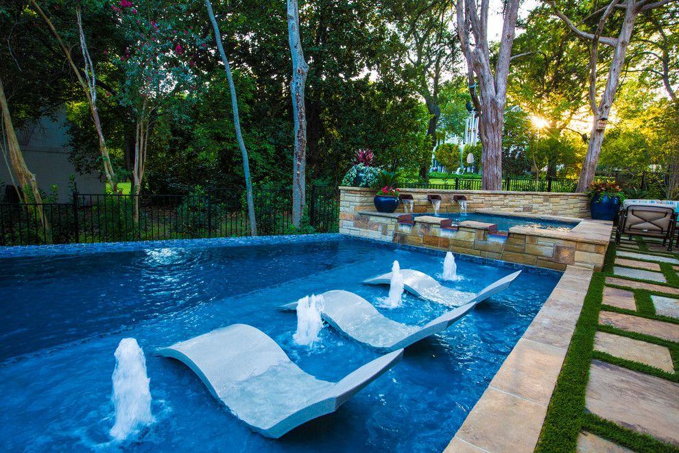 Baroque lounger chair in pool contemporary with artificial for Garden pool loungers