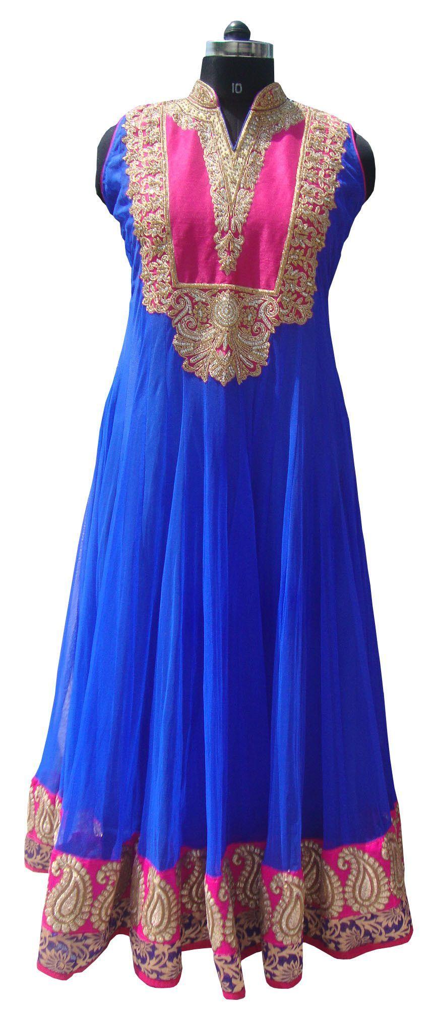 Royal blue color floor length anarkali salwar kameez