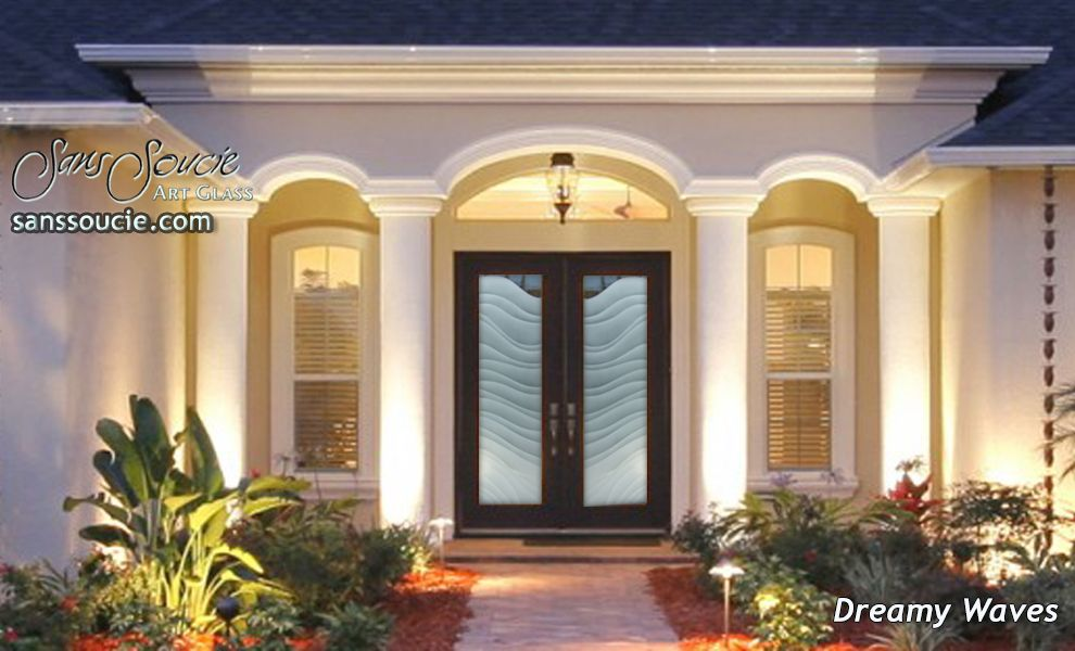 Etched Glass Furniture   Front Doors  Interior Glass Doors   Etched Glass  designs provide privacy  light and art throughout your home Dreamy Waves 2D Glass Front Entry Doors   Double Entry Doors  . Luxury Entry Doors Design. Home Design Ideas