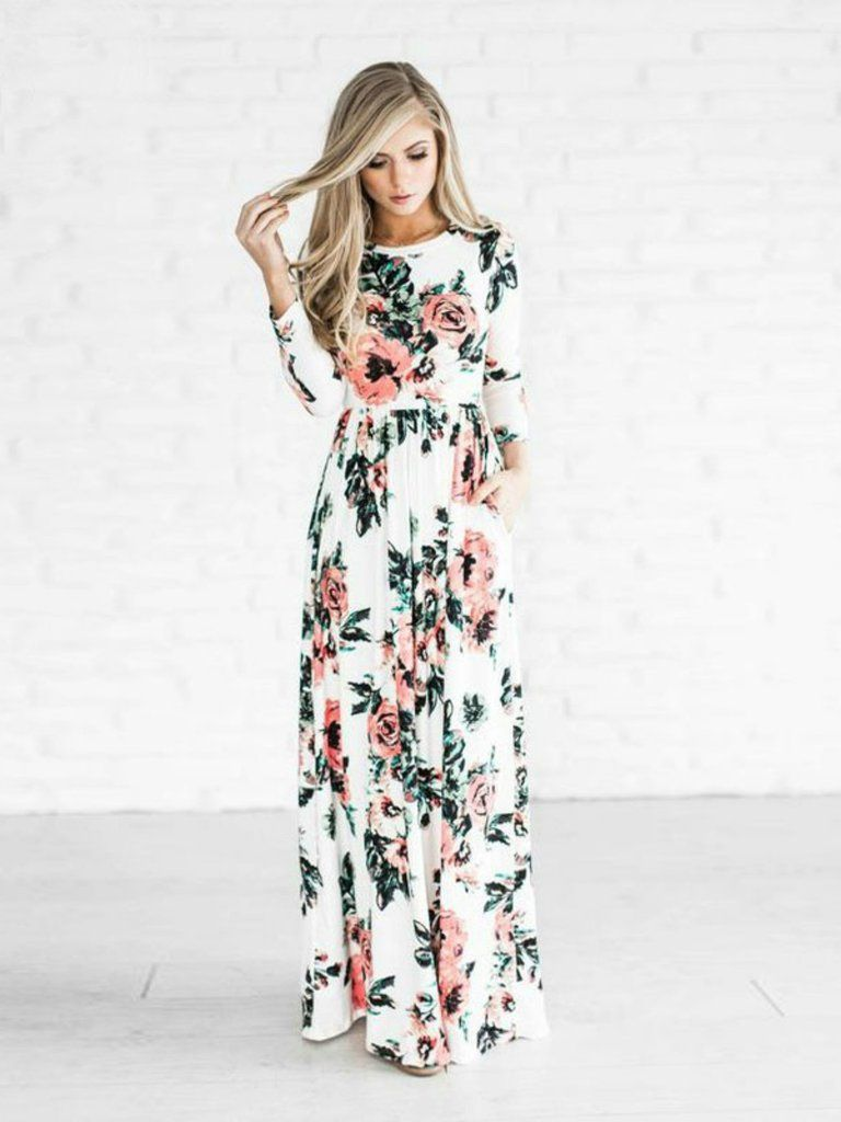 This maxi dress is absolutely gorgeous and deserves an #ootd picture! We are loving the pretty floral print and jewel neckline details. This dress is so perfect for seasons year around. Wear this dres