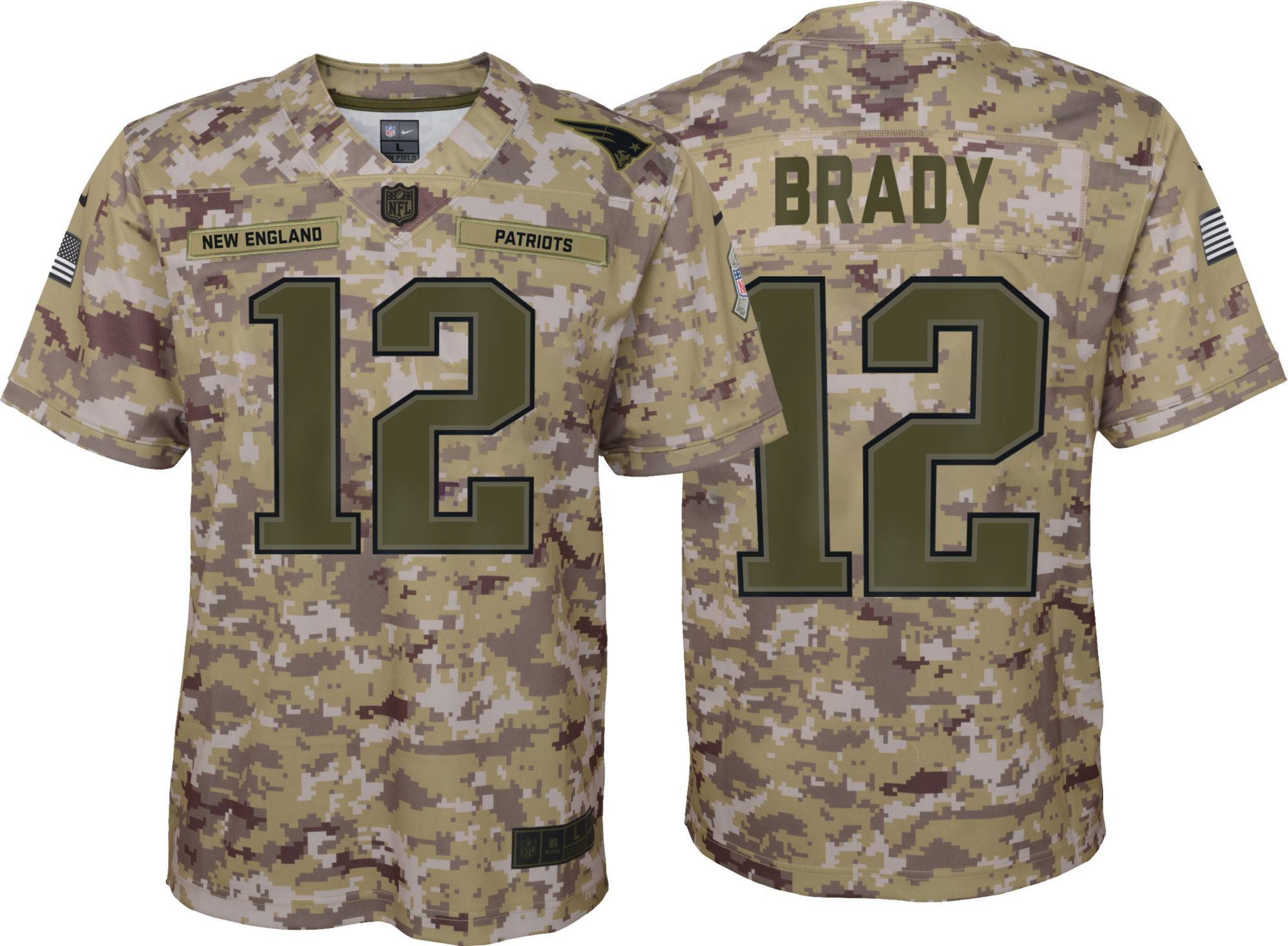 Nike Men S Salute To Service New England Tom Brady 12 Camouflage Game Jersey Green Salute To Service New England Patriots Nike Men