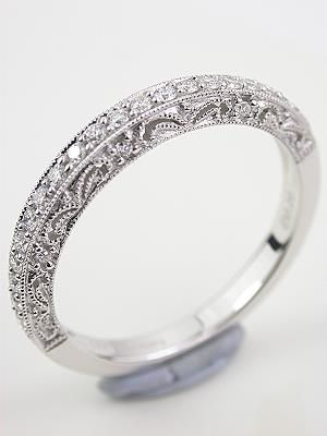Paisley And Filigree Diamond Wedding Band Rg 1747wbm Vintage Style Wedding Rings Diamond Wedding Bands Antique Style Wedding Rings