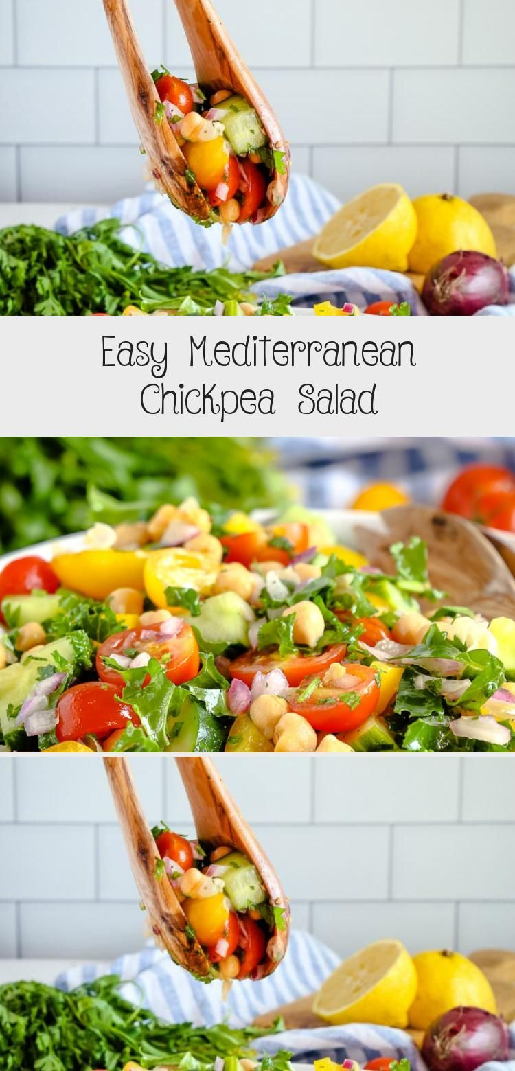 This Easy Mediterranean Chickpea Salad is the perfect makeahead lunch for busy work or school days and it makes a great healthy vegetarian side dish or main dish too Reci...