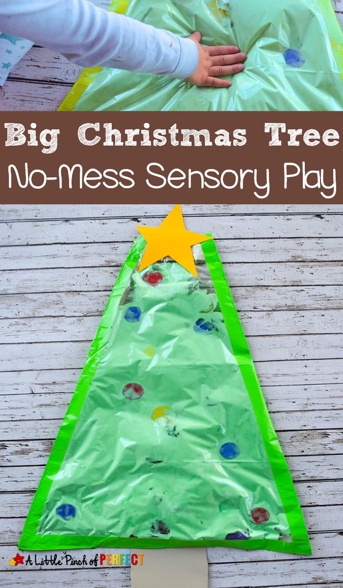 A Big Christmas Tree No Mess Sensory Play Activity For Kids Big Christmas Tree Christmas Activities Toddler Christmas