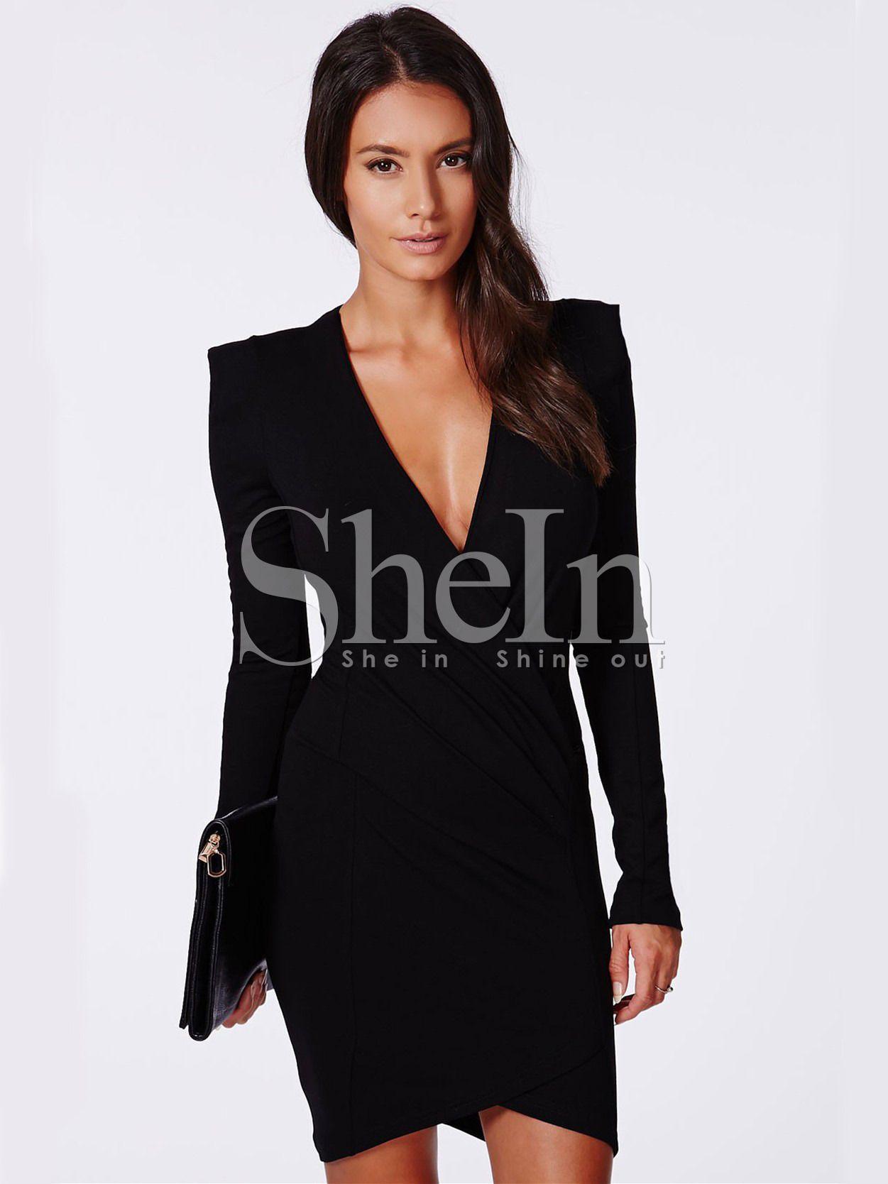 Black long sleeve v neck bodycon dress vestidos pinterest