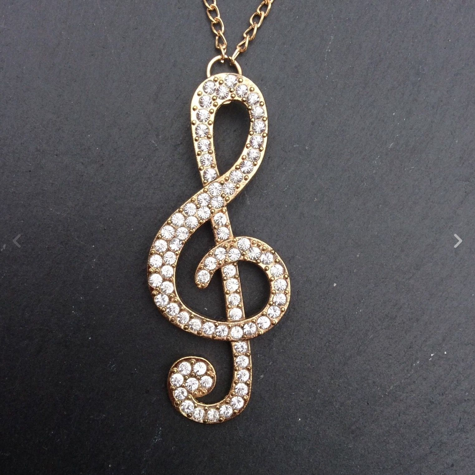 FREE GIFT BAG Silver Plated Crystal Necklace Chain Music Treble Clef Jewellery