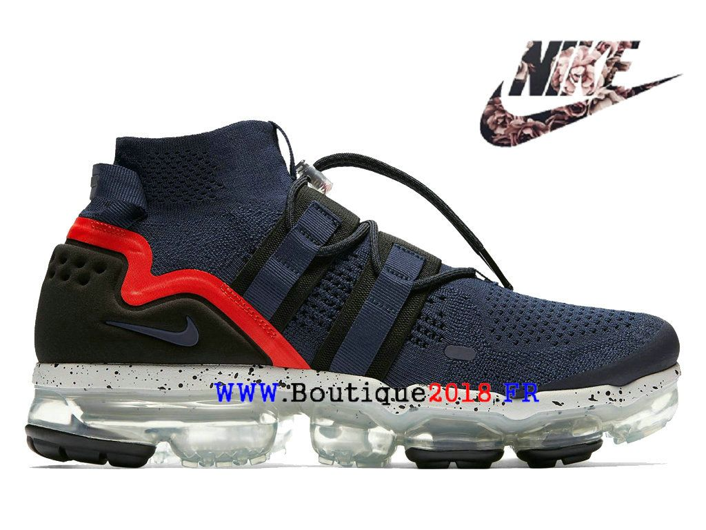 free shipping d30d3 0a116 Nike Air VaporMax Flyknit utility Pas Cher Prix Asphalt Chaussures Homme  College-Navy AH6834-