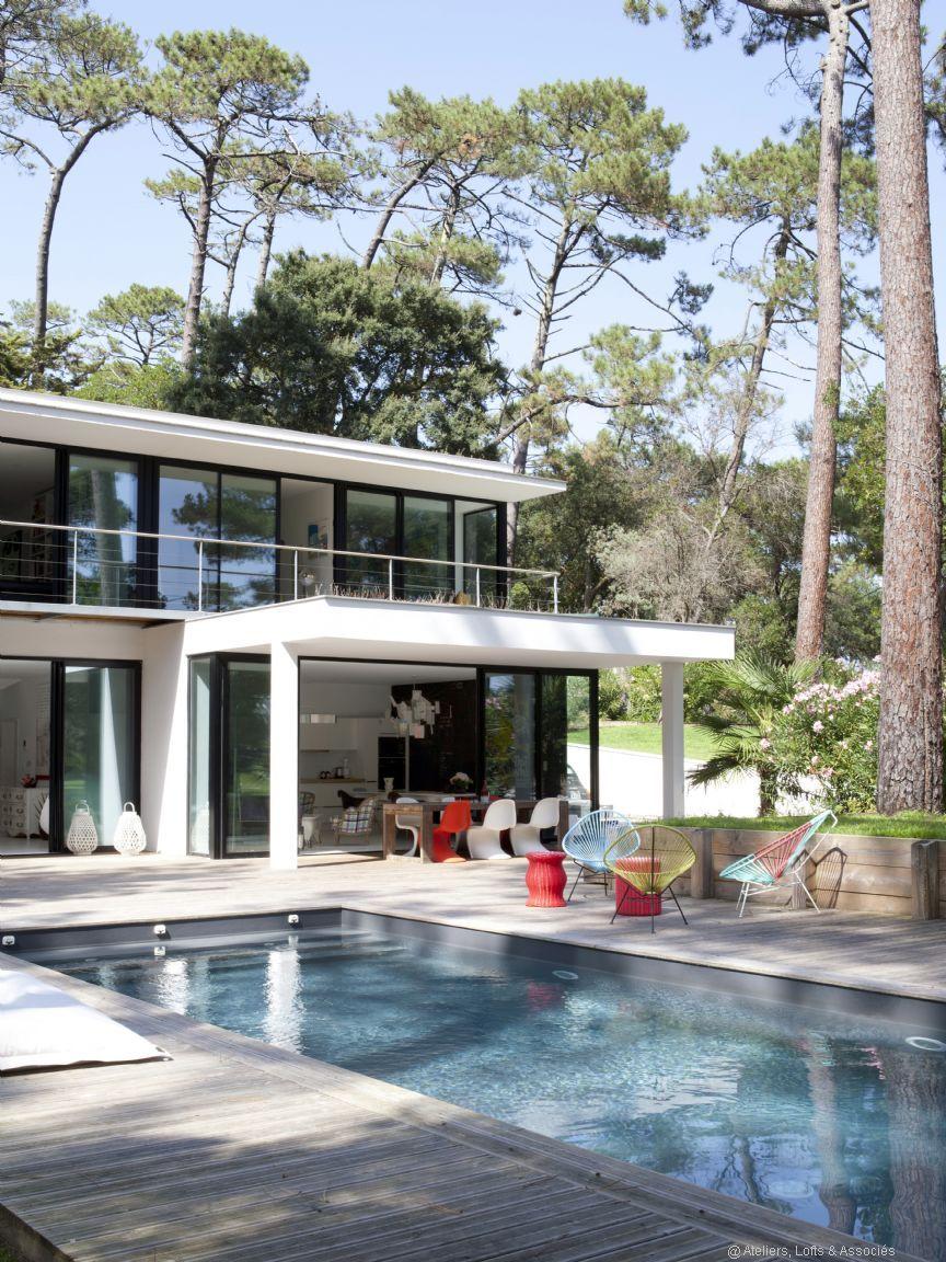 incroyable maison moderne californienne idees de design With wonderful plan d une belle maison 6 la baie vitree coulissante pour un design spectaculaire