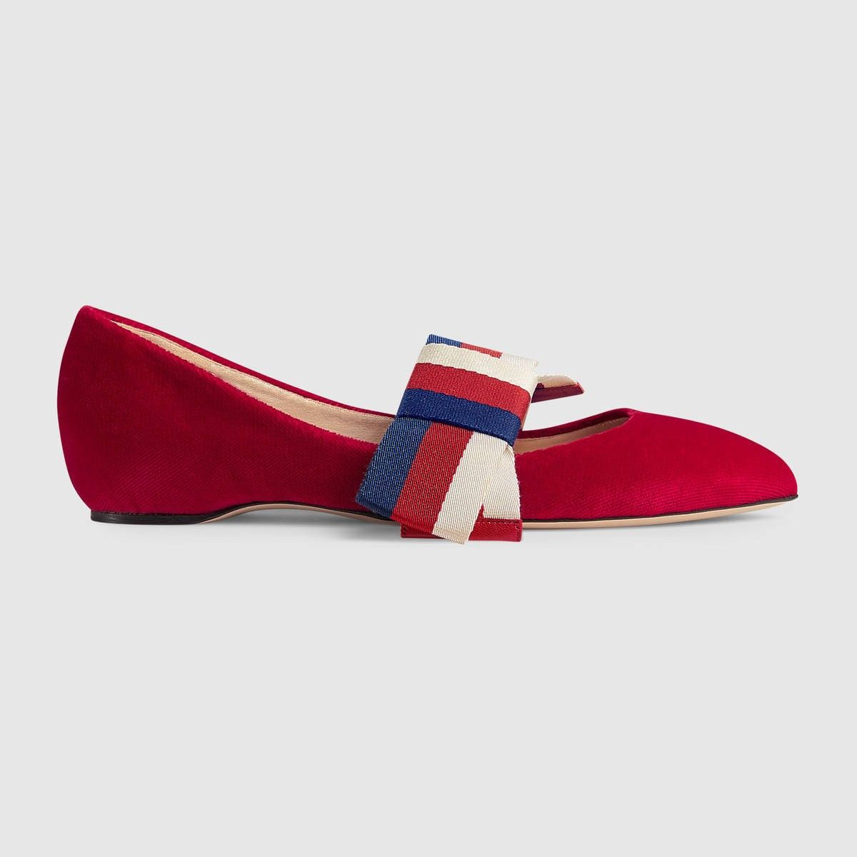 b9ff58f0a70c GUCCI Velvet ballet flat with Sylvie bow - hibiscus red velvet.  gucci   shoes
