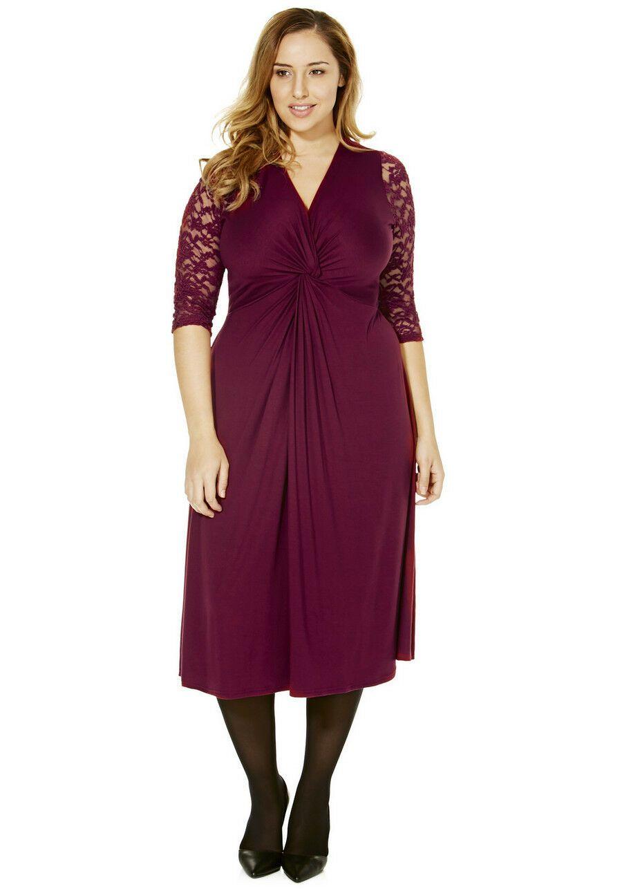 Kleid Gr.14 Wadenlang Stretchkleid Spitze Spitzenkleid bordeaux