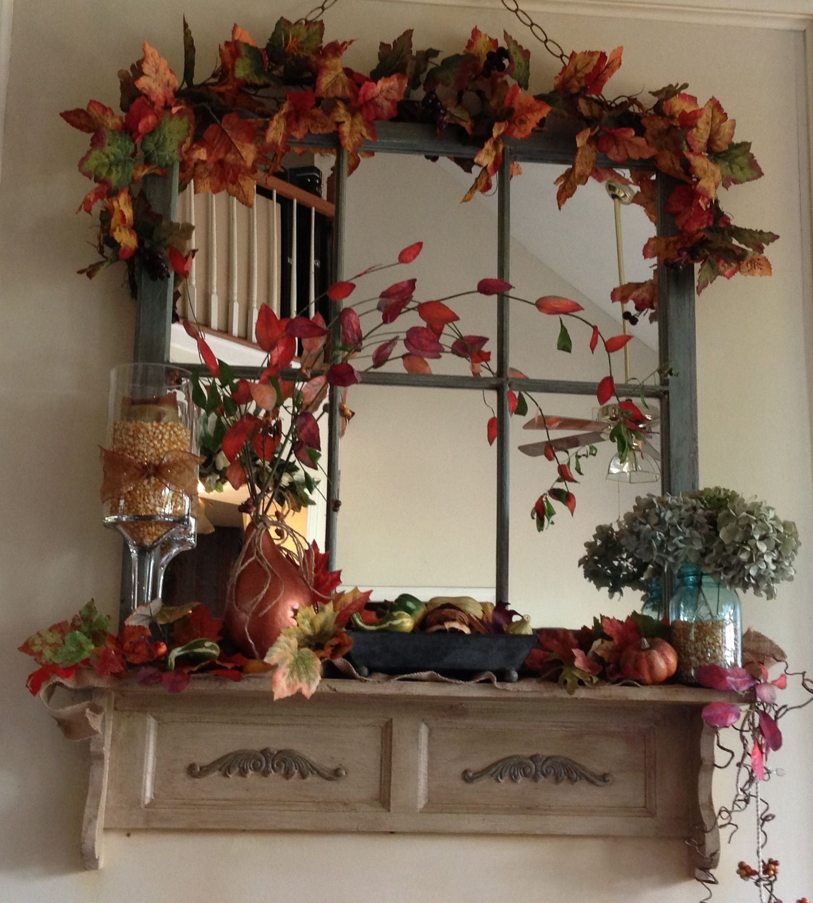 My Fall Mantle The Branch Extending From The Copper Painted Gourd