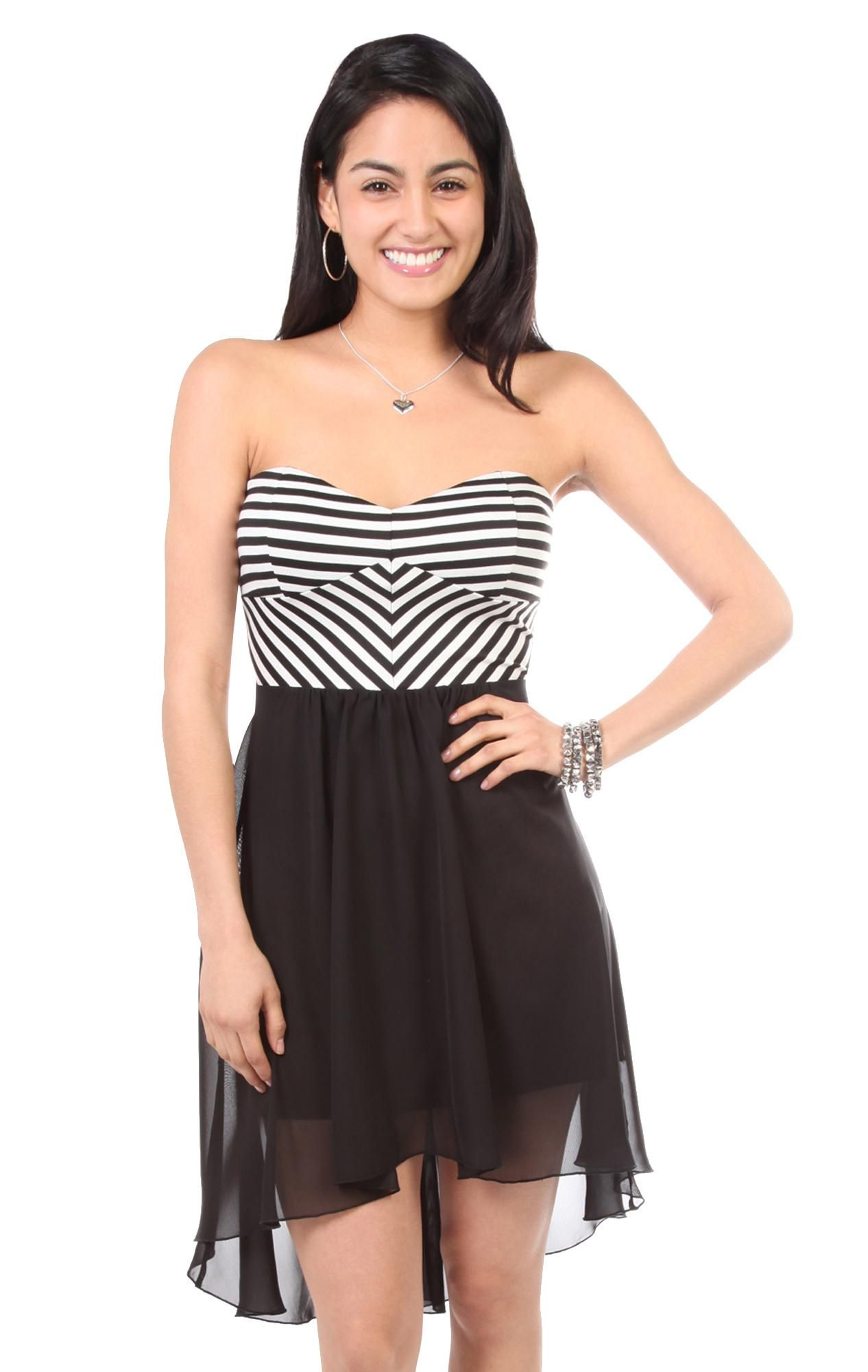 black and white stripe bodice with chiffon hi low skirt - 1000046556 - debshops.com