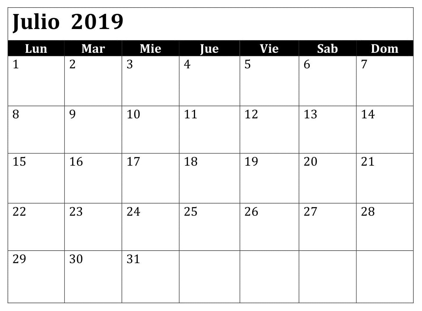 Julio Calendario 2019.Excel Calendario Julio 2019 Mensual Vacaciones Modelo Gratis