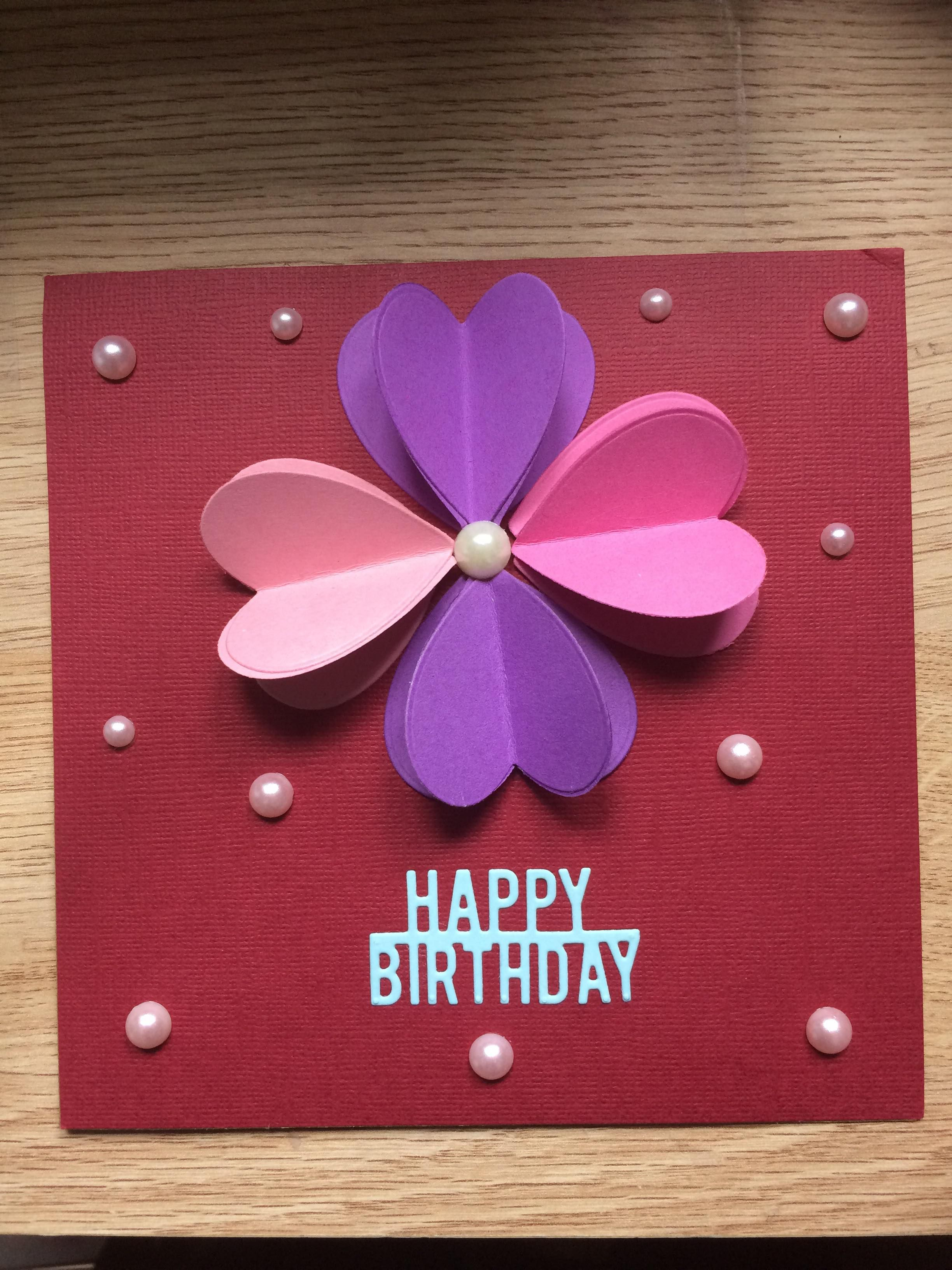 A Simple Design For Any Age Made With Basic Shapes And Colours Homemade Birthday Cards Happy Birthday Cards Birthday Cards
