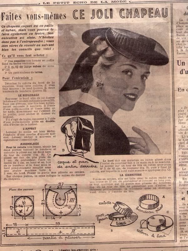Vintage hat pattern in French | Dress - hats & bags | Pinterest ...