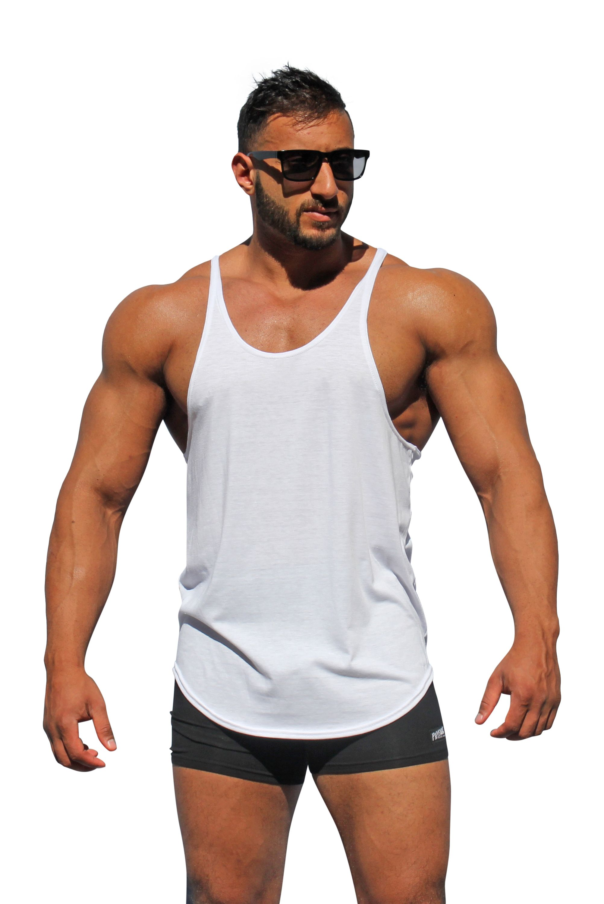 673d6653efb75 Order 3 or more for only $12.98 each. Style 725 - Men's Y-Back Stringer Tank  Top. Improved style & fit longer with thinner straps. Sale $12.98 ea.
