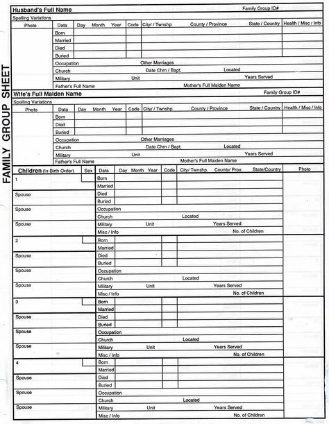 genealogy templates family group chart Family Group Sheet 1 - health history template