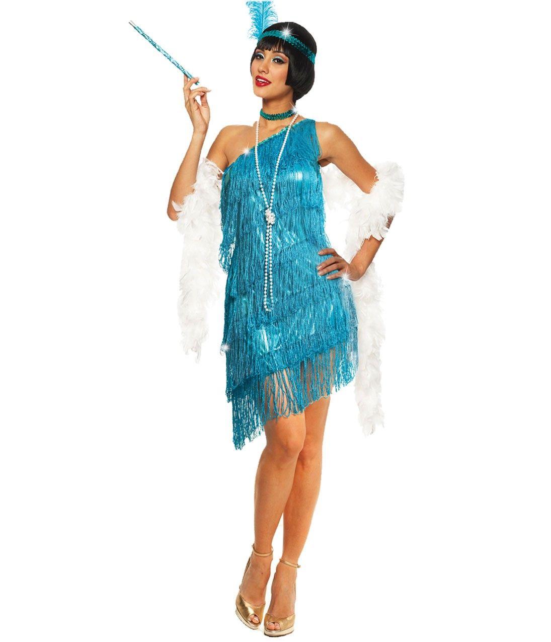 Turquoise Dazzling Fringe Flapper Costume | classic Fashion ...