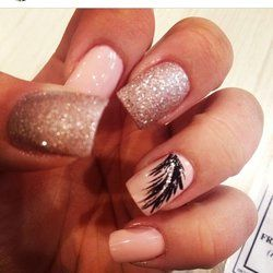 acrylic nails with feathers - Google Search | nails ...