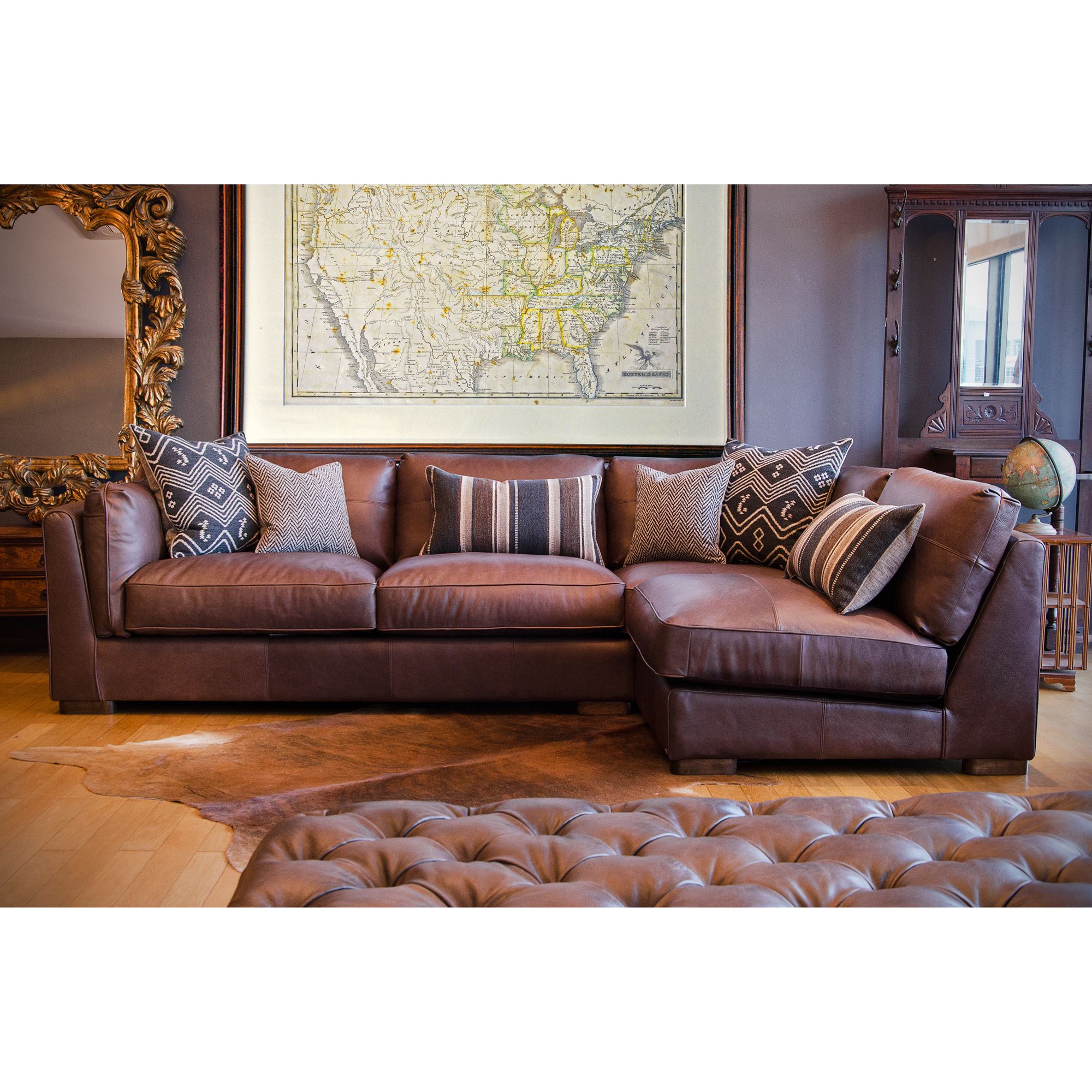 brown sofa coffee table dark leather pin sectional couch recliner with and