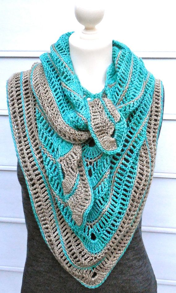 "CROCHET PATTERN for ""Tranquille"" Shawl Scarf Wrap Shawlette"