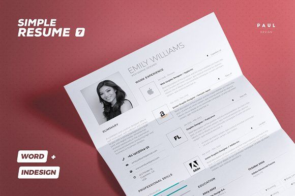 Simple Resume Cv Vol 7 @creativework247 Resume Fonts - font size for resume