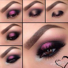 Maquillaje para vestido rosa con negro