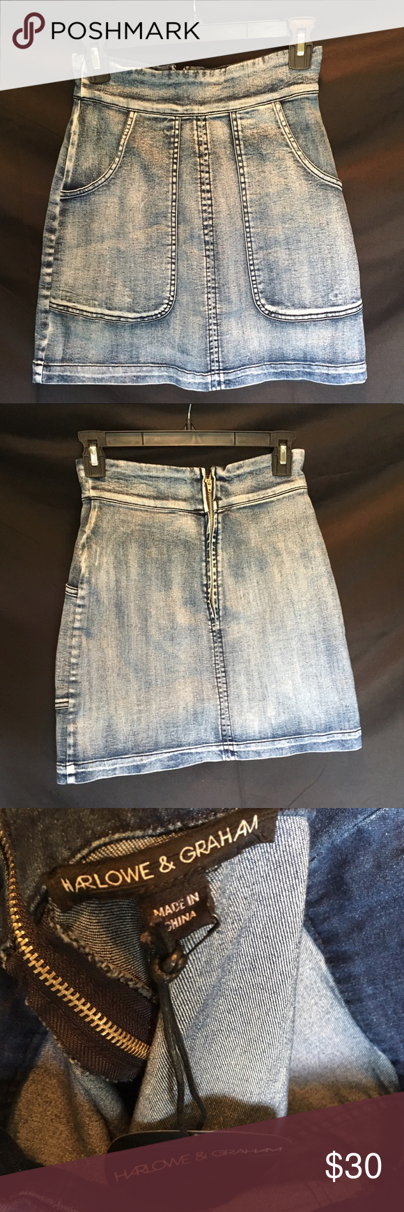 NWT Harlow and Graham Denim mini New, with tags attached! Distressed denim mini   So adorable ❤️ perfect condition :) ASOS Skirts Mini