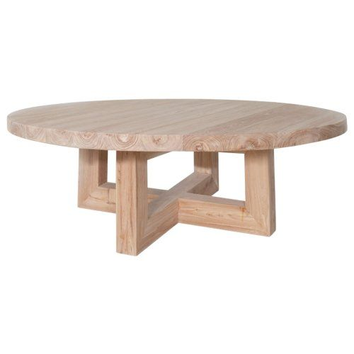 Designer Round Oak Coffee Table Solid Timber Accent Tables