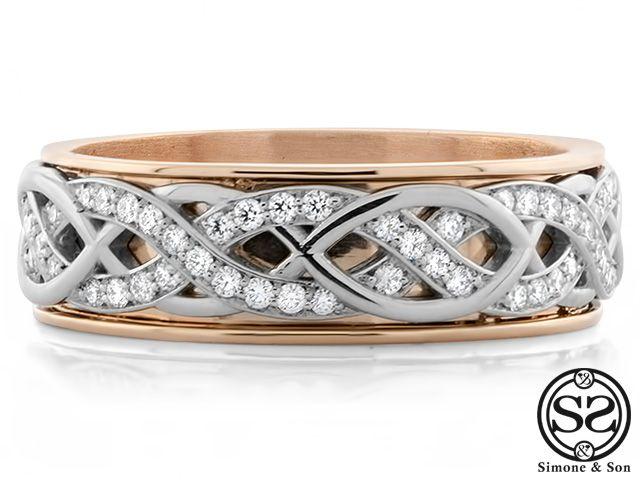 Custom Men's Platinum & Rose Gold Diamond Wedding Band by ...