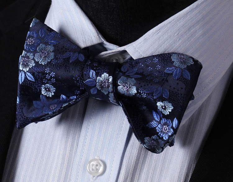 Men/'s Bow Tie Blue Floral Paisley Bow Tie Pocket Square Wedding Bowtie Hanky Set