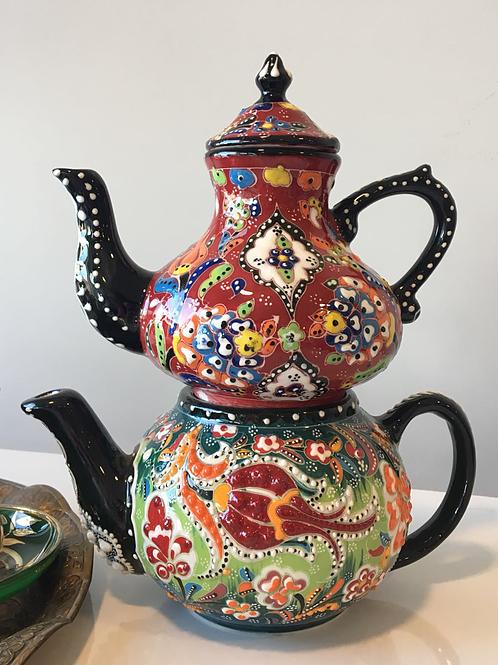 TURKISH CERAMIC TEA POT, DOUBLE SAMOVAR CAYDANLIK