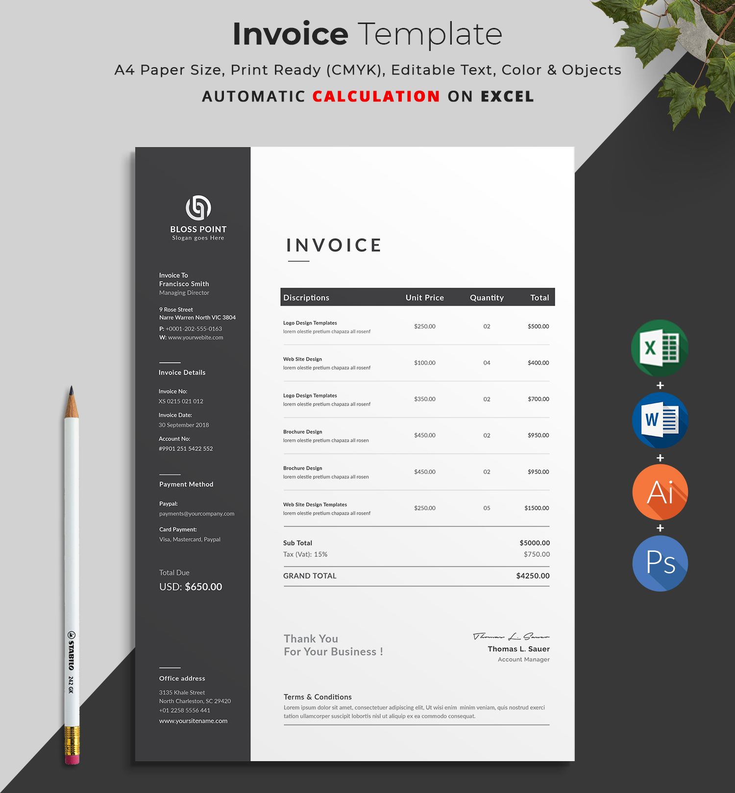 Invoice Template Invoice Design Ms Excel Auto Calculation Etsy In 2021 Invoice Design Photography Invoice Invoice Template