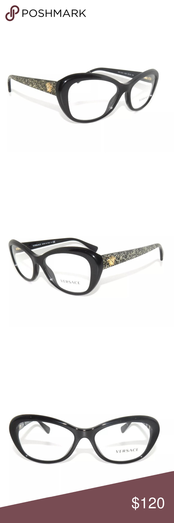 e38b0f1969b Versace Black and Glitter Eyeglasses 3216 New. Authentic. Comes with Versace  case. Versace Accessories Glasses