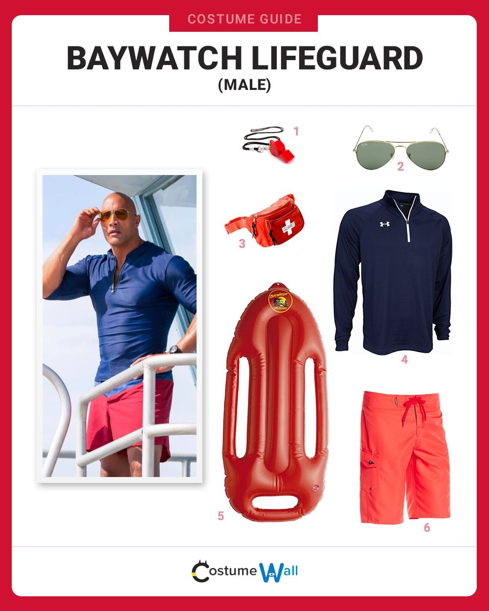 937762d9714 The best costume guide for dressing up to hit the beach like the Male Baywatch  Lifeguard from the hit TV show and movie