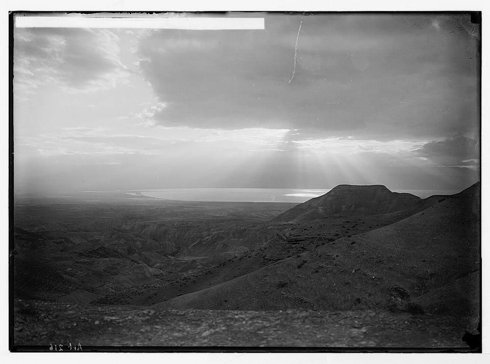 Sunrise over the Dead Sea from wilderness of Judea, taken between 1898 and 1946, Library of Congress