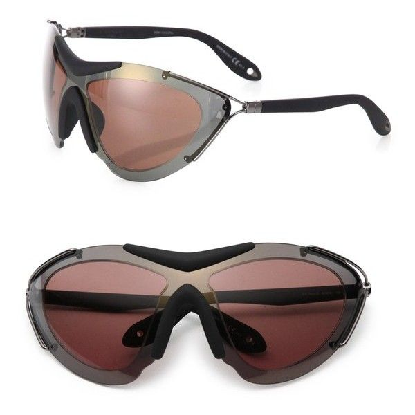 547810ef95e Givenchy 99Mm Metal Shield Sport Sunglasses ( 545) ❤ liked on Polyvore  featuring accessories