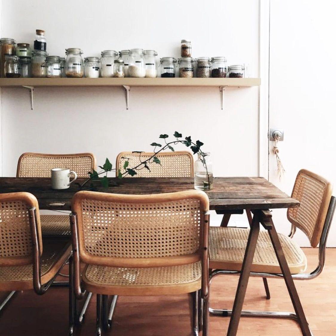 Suite De Quatre Chaises Cesca B32 De Marcel Breuer Annees 80 Bois De Hetre Massif Et Structure En Contemporary Home Furniture Vintage Dining Room Classy Rooms