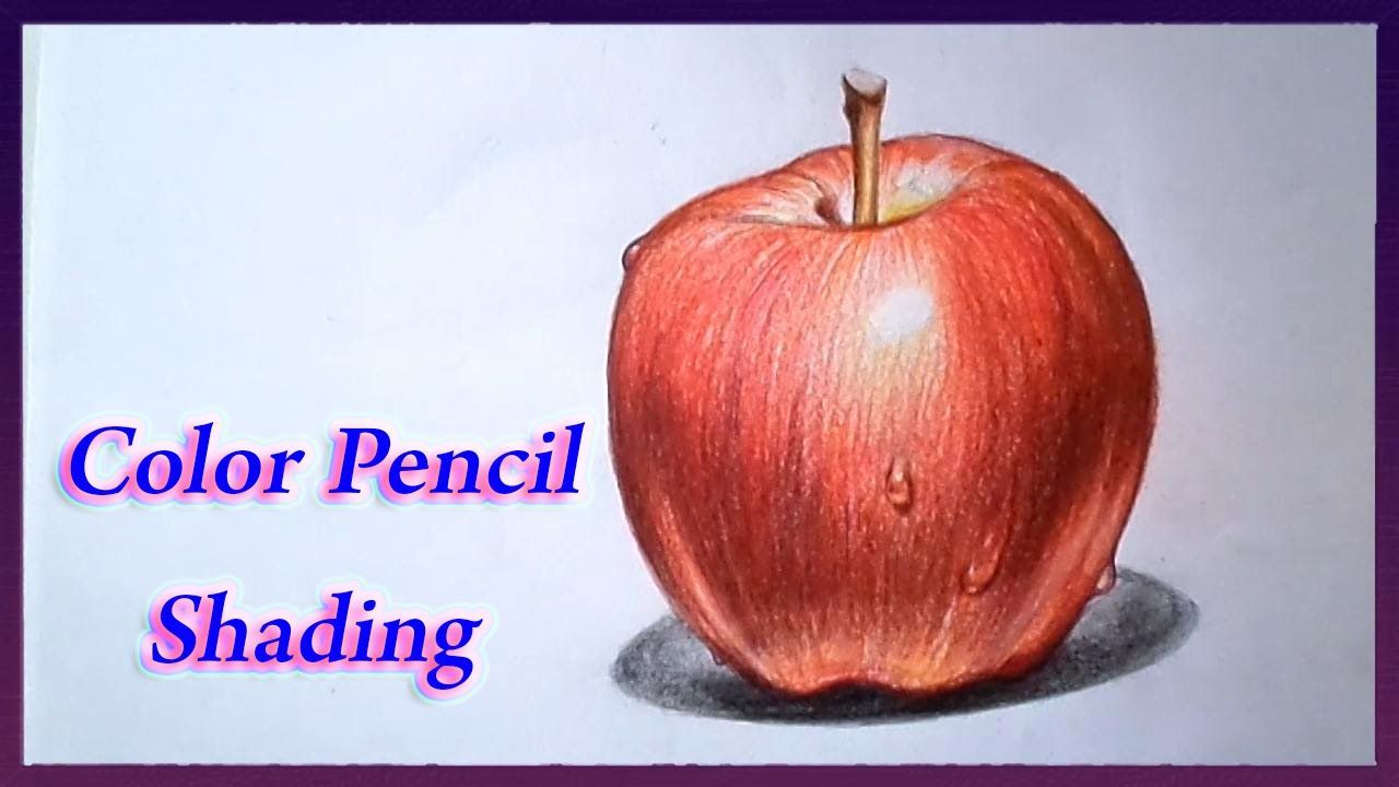 Realistic color pencil drawing tutorial of apple